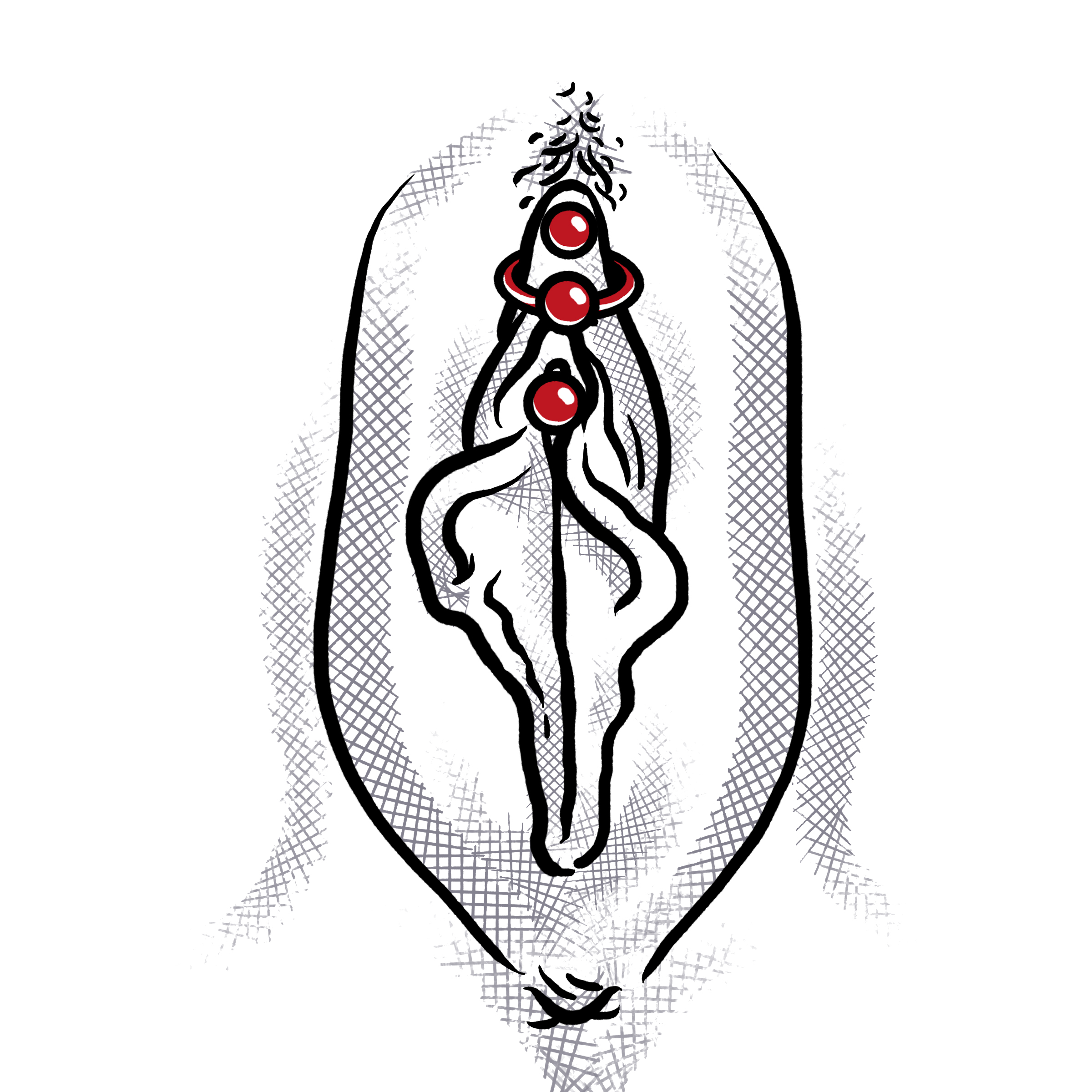 Magic cross male genital piercing