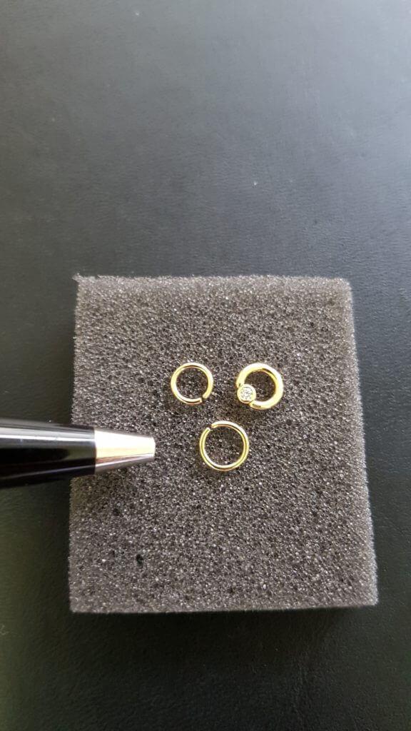 Made to measure piercing jewlery piercing Sonderanfertigung brilliant gold